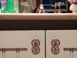 Bike Wheel Knobs enhance a renovated master bathroom